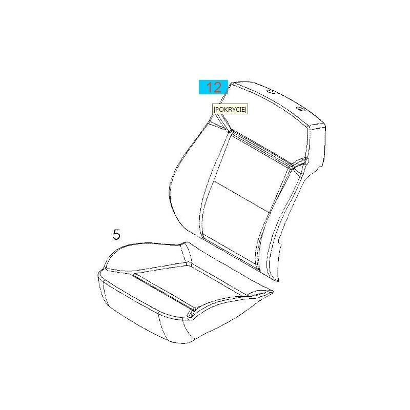 Tapicerka oparcia przedniego fotela pasażera GM 13288931 (Opel Astra H, Zafira B)