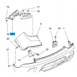 Ślizg, mocowanie zderzaka tył, lewy GM95256261 (Opel Mokka)