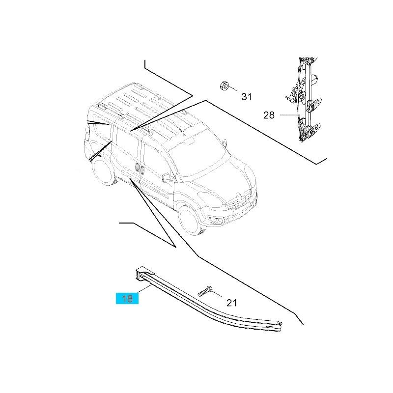 Szyna prowadząca drzwi przesuwnych strona prawa GM95514777 (Opel Combo D)