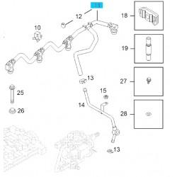 Wąż przelewowy powrót paliwa, wtryskiwacz paliwa 98134951 (Corsa C, Meriva A Z17DTH)