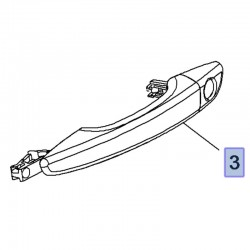Klamka przednich drzwi, lewa 980297811T (Combo E, Crossland X)